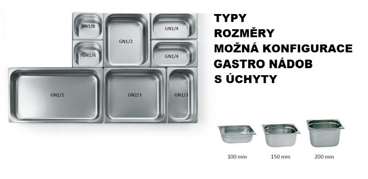 Gastro nádoby PROFI s úchyty - 1/1 100 mm