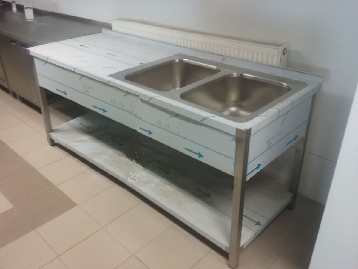 Stůl 2 x dřez a police 60x - 170 cm